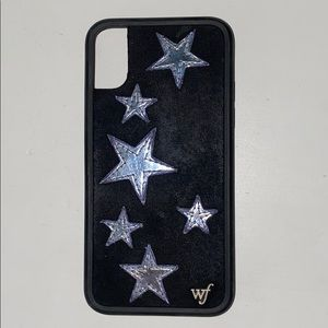 Wildflower Black Velvet Silver Star iPhone X Case